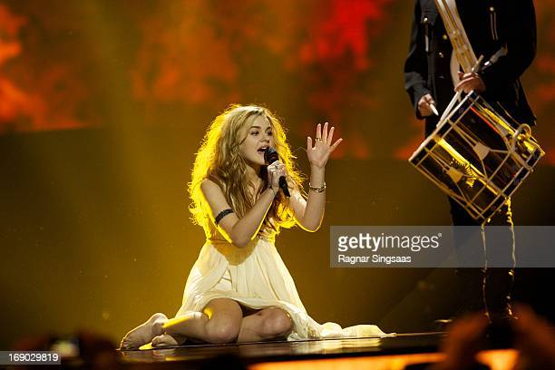Emmelie de Forest of Denmark performs on stage during the grand final of the Eurovision Song Contest 2013 at Malmo Arena on May 18 2013 in Malmo...