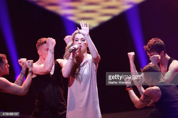 Emmelie de Forest performs during the TV Show 'Eurovision Song Contest Unser Song fuer Daenemark 2014' at Lanxess Arena on March 13 2014 in Cologne...
