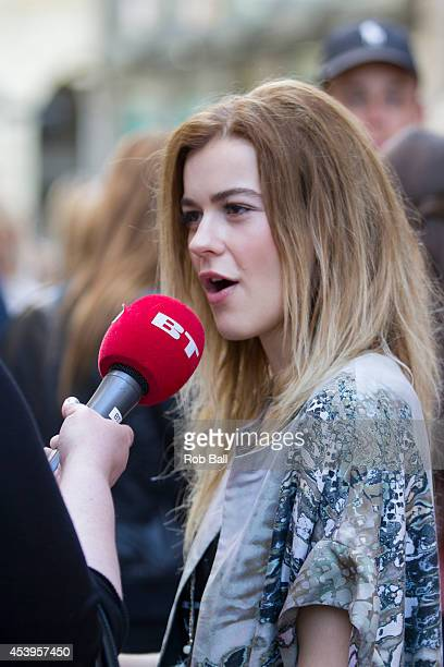 Emmelie de Forest winner of the Eurovision Song Contest 2013 attends Copenhagen Fashion Week on August 6 2014 in Copenhagen Denmark