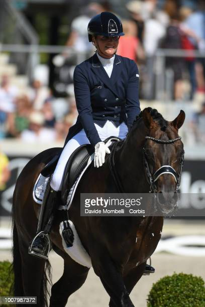Emmelie Scholtens of Netherlands riding Apache during the dressage individual Final Grand Prix of Aachen Freestyle to music CDIO Deutsche Bank Prize...