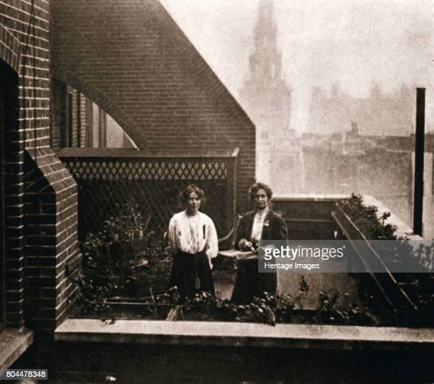 Emmeline and Christabel Pankhurst British suffragettes London 12 October 1908 Emmeline Pankhurst and her daughter Christabel Pankhurst hiding in the...