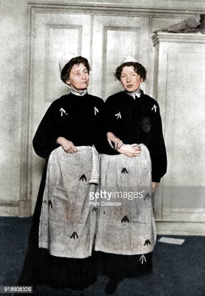 Emmeline and Christabel Pankhurst English suffragettes in prison dress 1908 Emmeline Pankhurst and her daughter Christabel were among the leaders of...