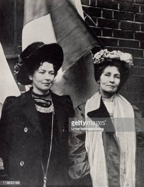 Emmeline Pankhurst English suffragette founder of Women's Franchise League and in 1903 with her daughter Christabel pictured with her founder of the...