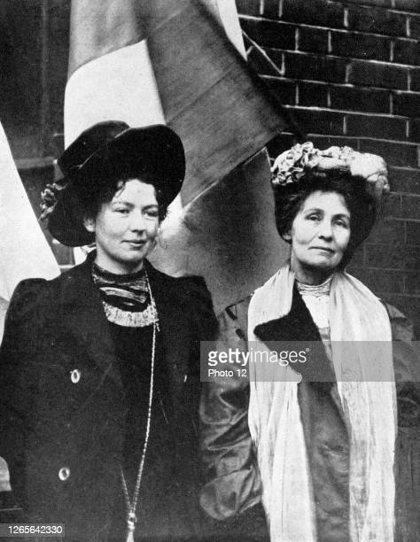 Emmeline Pankhurst English suffragette, founder of Women's Franchise League and, in 1903 with her daughter Christabel pictured with her, founder of...
