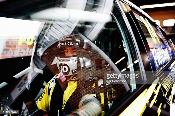 Emmerdale actor Kelvin Fletcher of Power Maxed Racing prepares to drive during race one of the Dunlop MSA British Touring Car Championship at Brands...