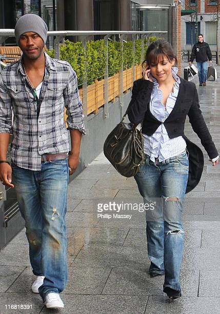 Emmerdale actress Roxanne Pallett and guest arrive at her hotel on April 12 2008 in Dublin Ireland