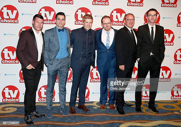 Emmerdale cast members Danny Miller Adam Fielding Ryan Hawley Liam Fox Nick Miles and Mark Charnock attend the TV Choice Awards 2015 at Hilton Park...