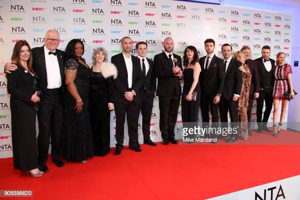 Emmerdale cast poses in the press room with the Serial Drama Award at the National Television Awards 2018 at The O2 Arena on January 23 2018 in...