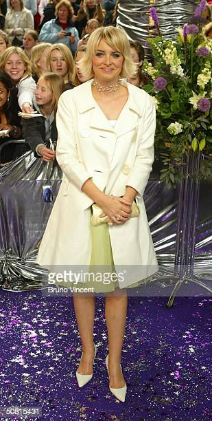Emmerdale soap star Emma Atkins arrives at the sixth annual British Soap Awards 2004 on May 8 2004 at BBC Television Centre in London