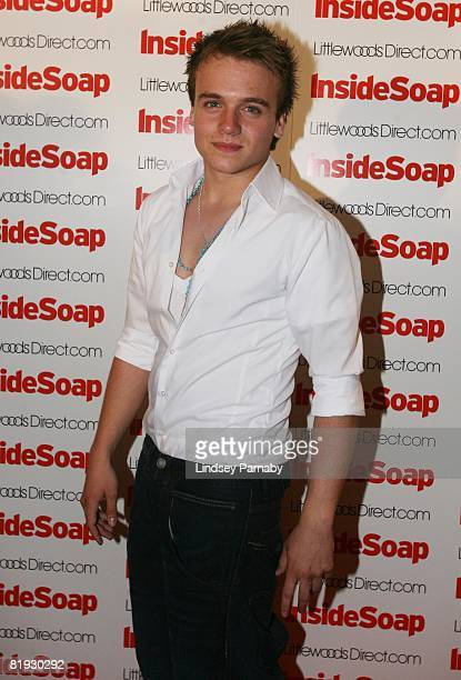 Emmerdale's James Baxtor arrives for the Inside Soap Awards Launch Party at the John Street Hotel on July 14 2008 in Manchester England