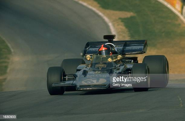 Emmerson Fittipaldi of Brazil in action in his Lotus Cosworth during the Belgian Grand Prix at the Nivelles circuit in Belgium Fittipaldi finished in...