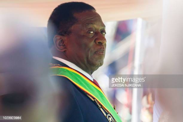 Emmerson Mnangagwa looks on during his official inauguration ceremony as the President of Zimbabwe at the National Sports Stadium in the capital...