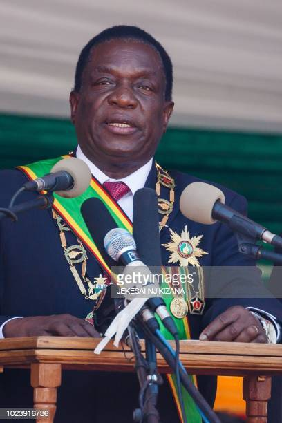 Emmerson Mnangagwa speaks during his official inauguration ceremony as the President of Zimbabwe at the National Sports Stadium in the capital...
