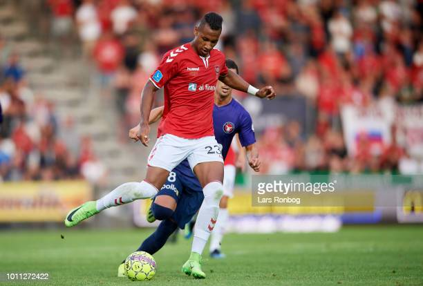 Emmerson of Vejle Boldklub controls the ball during the Danish Superliga match between Vejle Boldklub and FC Midtjylland at Vejle Stadion on August 4...