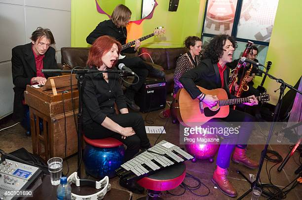 Emmett Elvin Melanie Woods Charlie Cawood Chloe Herington Kavus Torabi and Josh Perl of British prog rock group Knifeworld performing live at...