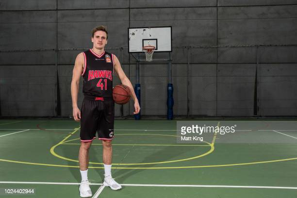 Emmett Naar of the Illawarra Hawks poses during the NBL First Ever Apparel Uniform Launch athe the Ultimo Community Centre on August 27 2018 in...