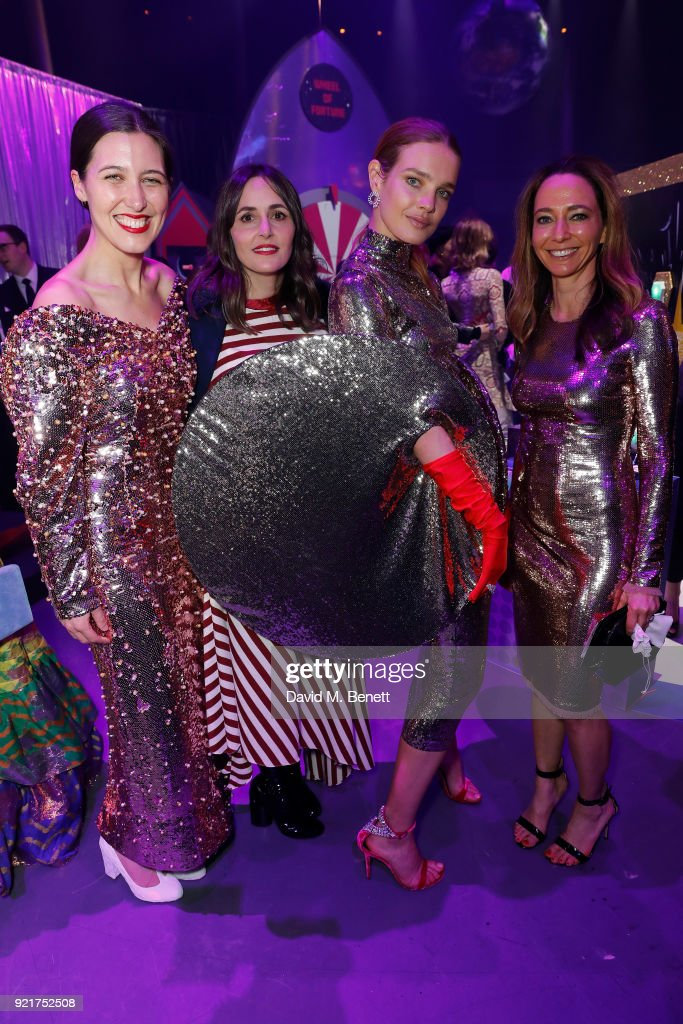 Emmilia Wickstead, Tania Fares, Natalia Vodianova and Whitney Bromberg-Hawkings at the Naked Heart Foundation's Fabulous Fund Fair in London at The Roundhouse on February 20, 2018 in London, England.