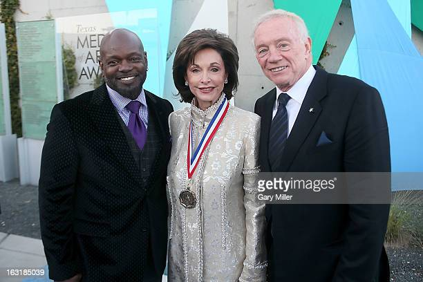 Emmitt Smith Gene Jones and Jerry Jones walk the red carpet before the Texas Medal of Arts Awards show at The Long Center on March 5 2013 in Austin...