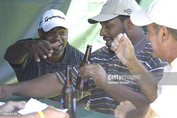 Emmitt Smith Jerome Bettis and Al Michaels talk at the American Century Championship Golf Tournament at the Edgewood Tahoe Golf Course in Lake Tahoe...