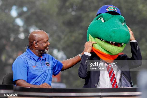 Emmitt Smith reacts after Lee Coroso announces his pick during ESPN's College Gameday at the University of Florida on October 05, 2019 in...