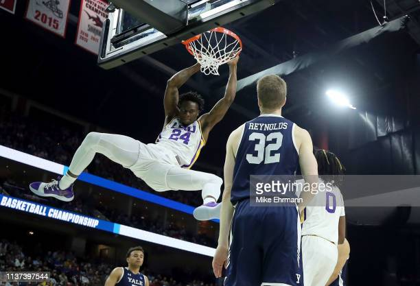 Emmitt Williams of the LSU Tigers makes the slam dunk against the Yale Bulldogs during the first round of the 2019 NCAA Men's Basketball Tournament...