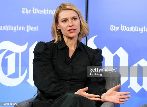 Emmy and Golden Globe awardwinning actress Claire Danes speaks at the Homeland Season 8 Screening Conversation at Washington Post Live Center on...