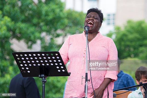 Emmy Award nominated blues singer Kat Williams performs at Mountain Moral Monday 2014 at Pack Square Park on August 4, 2014 in Asheville, North...