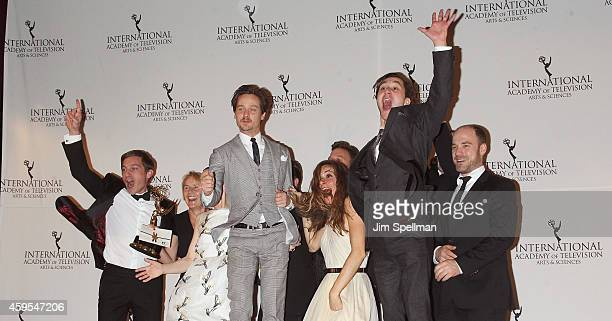 Emmy Award winners for TV Movie/Mini Series for 'Unsere Muetter, Unsere Vaeter ' Commissioning Editor Heike Hempel and cast members Volker Bruch ,...