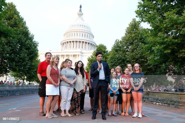 Emmy Awardnominated actor and producer and host John Stamos at the 2018 A Capitol Fourth rehearsals sat US Capitol West Lawn on July 3 2018 in...