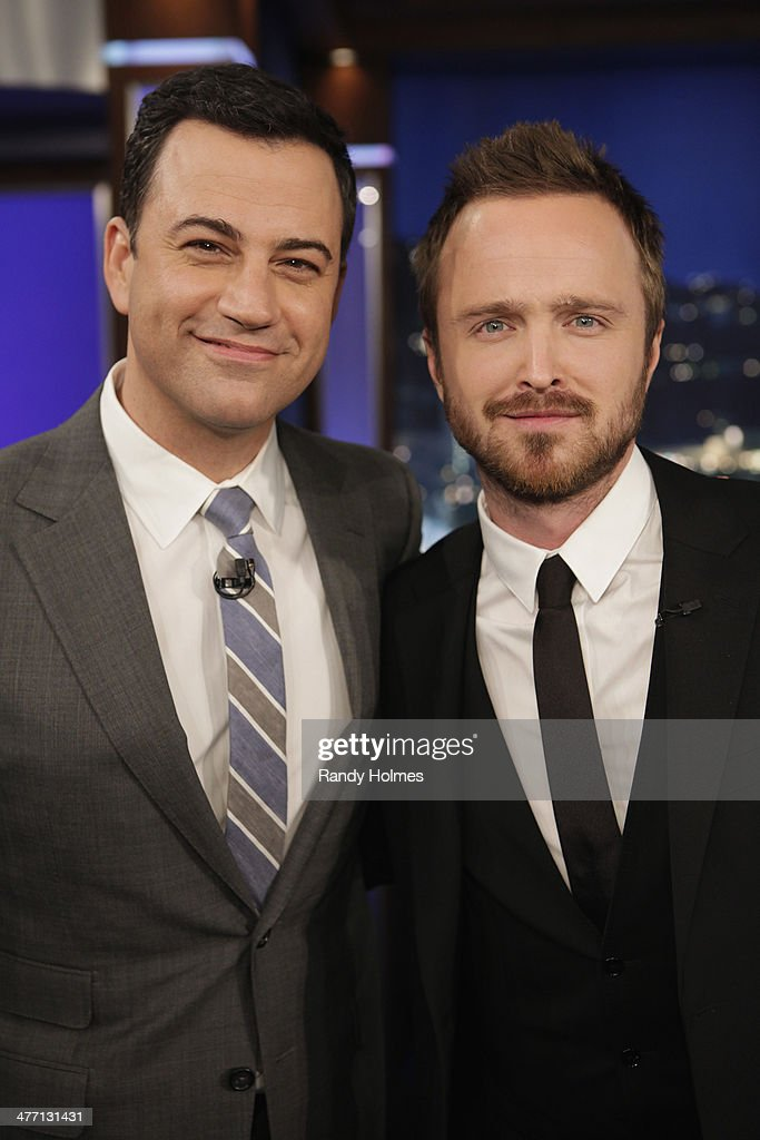 LIVE - Emmy Award-nominated 'Jimmy Kimmel Live' airs every weeknight (11:35 p.m. - 12:41 a.m., ET), packed with hilarious comedy bits and features a diverse lineup of guests including celebrities, athletes, musicians, comedians and humorous human interest subjects. The guests for THURSDAY, MARCH 6 included actor Aaron Paul ('Need For Speed'), actress Bellamy Young ('Scandal') and musical guest Jetta. (Randy Holmes/ABC via Getty Images)JIMMY