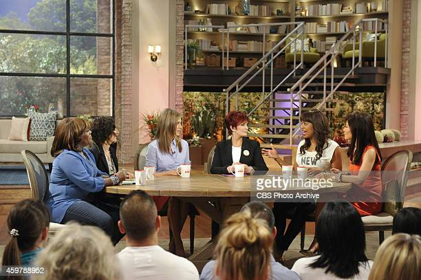 Emmy Awardwinning actress Jennifer Aniston discusses her new film on The Talk Wednesday November 26 2014 on the CBS Television Network From left...