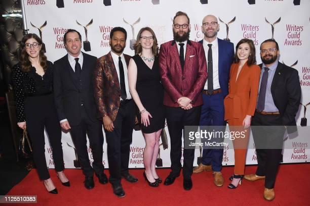 Emmy Blotnik Aaron Cohen John Thibodeaux Kate Sidley Opus Moreschi Daniel Kibblesmith Jen Spyra and Greg Iwinski attend the 71st Annual Writers Guild...