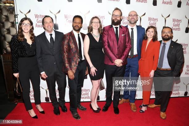 Emmy Blotnik Aaron Cohen John Thibodeaux Kate Sidley Opus Moreschi Daniel Kibblesmith Jen Spyra and Greg Iwinski attend 71st Annual Writers Guild...