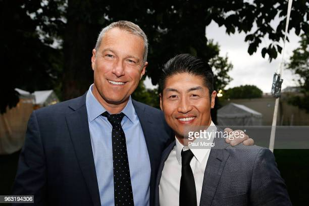 Emmy Golden Globe and SAG Awardnominated actor John Corbett and Star of Chicago Med Brian Tee attend the 2018 National Memorial Day Concert at US...