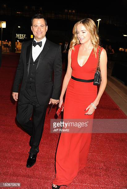 Emmy host Jimmy Kimmel and Molly McNearney attend the 64th Primetime Emmy Awards Governors Ball at Los Angeles Convention Center on September 23,...