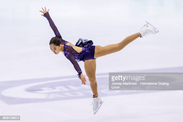 Emmy Ma of the United States competes in the Ladies Free Skating during day two of the ISU Junior Grand Prix of Figure Skating at Olivia Ice Rink on...