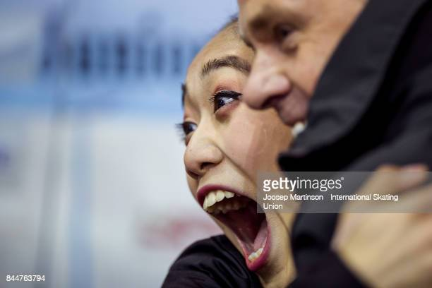 Emmy Ma of the United States reacts at the kiss and cry in the Junior Ladies Free Skating during day 2 of the Riga Cup ISU Junior Grand Prix of...