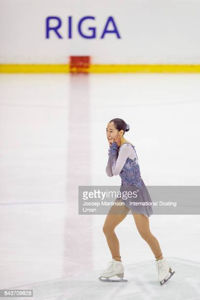 Emmy Ma of the United States reacts in the Junior Ladies Short Program during day 1 of the Riga Cup ISU Junior Grand Prix of Figure Skating at Volvo...