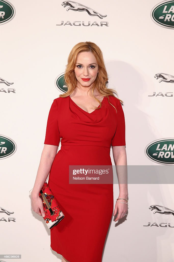Emmy® nominated actress, Christina Hendricks at the Jaguar Land Rover exclusive reception to unveil the 2016 Jaguar XF and Range Rover SVAutobiography in advance of the New York International Auto Show, at Center548 on March 31, 2015 in New York City.