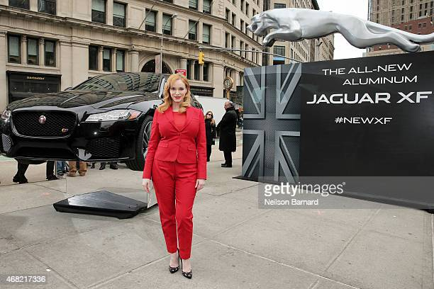 Emmy nominated actress Christina Hendricks joins Jaguar in Manhattan's Flatiron Square on March 31 2015 in New York City to reveal the allnew 2016 XF...