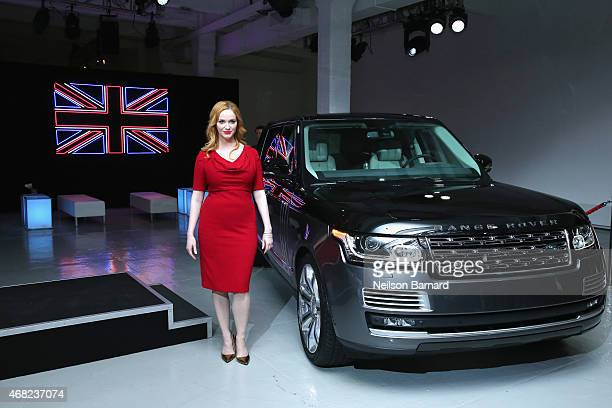 Emmy® nominated actress Christina Hendricks with Range Rover SVAutobiography at Jaguar Land Rover's exclusive reception to celebrate the 2015 New...