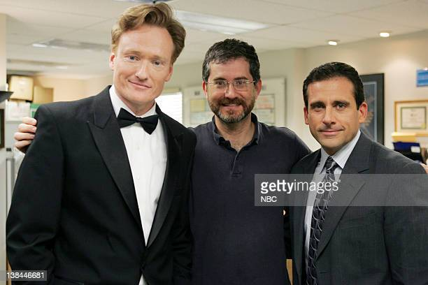 """Emmy opening skit"""" -- Aired -- Pictured: Conan O'Brien as himself, Director Greg Daniels and Steve Carell as Michael Scott"""
