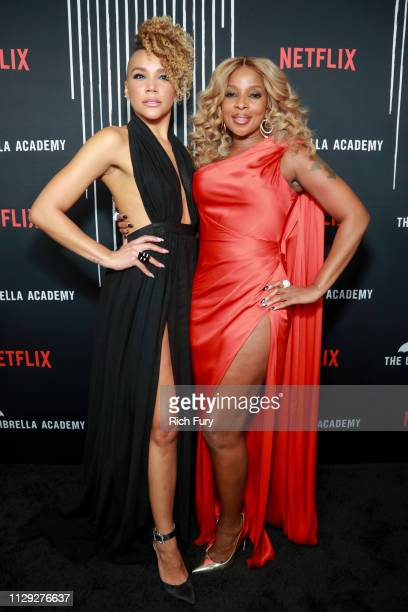 Emmy RaverLampman and Mary J Blige attend the premiere of Netflix's The Umbrella Academy at ArcLight Hollywood on February 12 2019 in Hollywood...