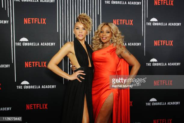 Emmy RaverLampman and Mary J Blige attend The Umbrella Academy Premiere at Cinerama Dome on February 12 2019 in Hollywood California