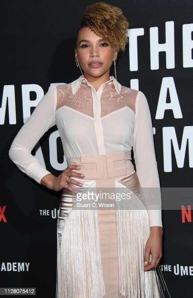 Emmy RaverLampman attends a photocall for Netflix The Umbrella Academy at Curzon Cinema Mayfair on February 07 2019 in London England