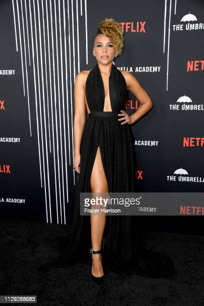 Emmy RaverLampman attends the Premiere of Netflix's The Umbrella Academy at ArcLight Hollywood on February 12 2019 in Hollywood California