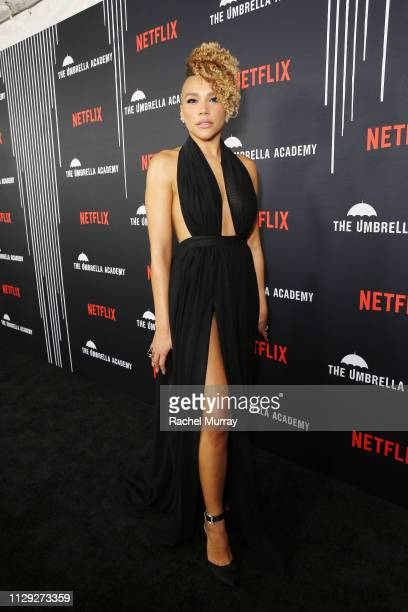 Emmy RaverLampman attends The Umbrella Academy Premiere at Cinerama Dome on February 12 2019 in Hollywood California