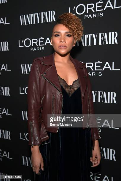 Emmy RaverLampman is seen as Vanity Fair and L'Oréal Paris Celebrate New Hollywood on February 19 2019 in Los Angeles California