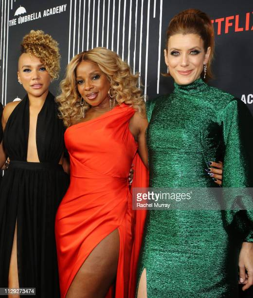 Emmy RaverLampman Mary J Blige and Kate Walsh attend The Umbrella Academy Premiere at Cinerama Dome on February 12 2019 in Hollywood California