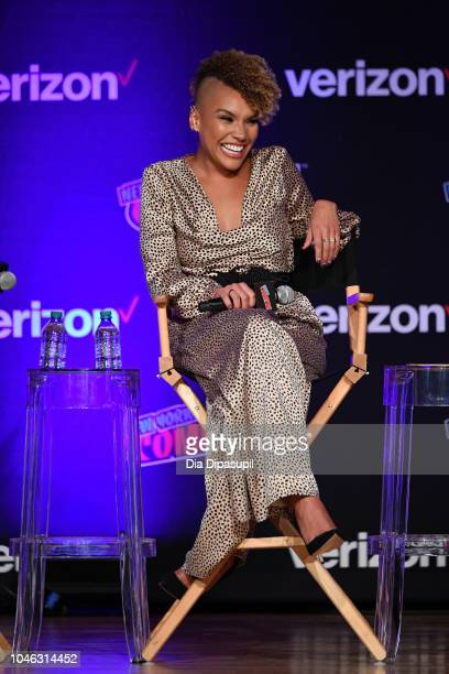 Emmy RaverLampman speaks onstage at the Netflix Chills panel during New York Comic Con 2018 at Jacob K Javits Convention Center on October 5 2018 in...